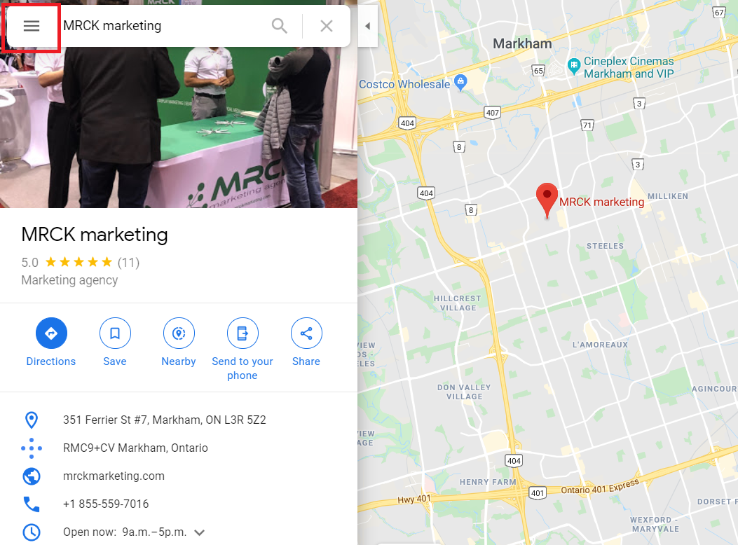 Google Maps location of MRCK marketing