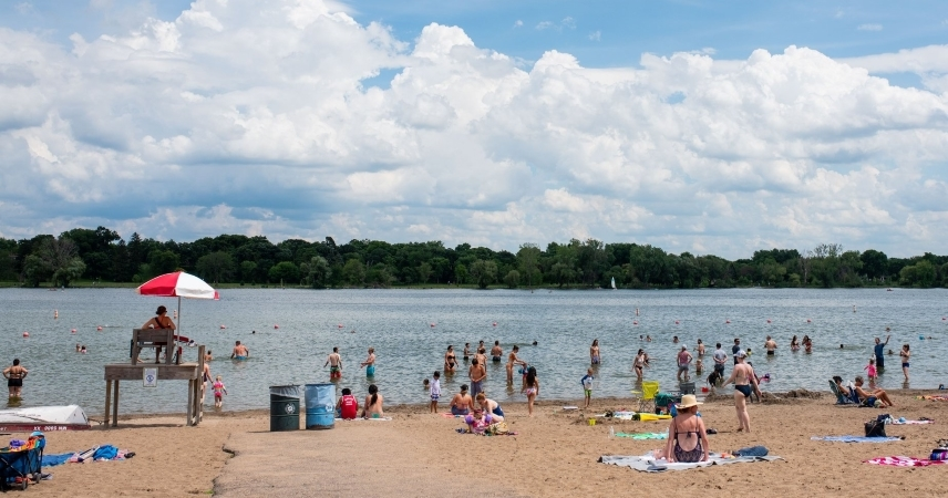 locals enjoy good weather at one of the many lakes of Minneapolis