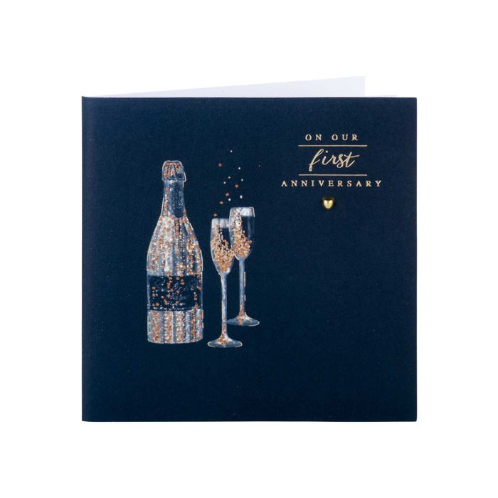 Best Wedding Anniversary Gifts; Clintons Champagne 1st Anniversary Card