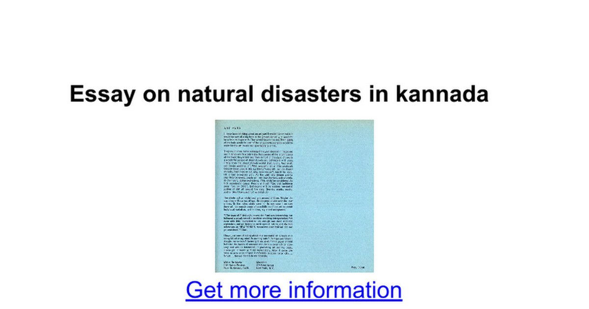 essay on natural disasters in kannada google docs
