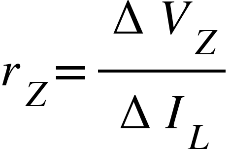 "<math xmlns=""http://www.w3.org/1998/Math/MathML""><msub><mi>r</mi><mi>Z</mi></msub><mo>=</mo><mfrac><mrow><mo>&#x2206;</mo><msub><mi>V</mi><mi>Z</mi></msub></mrow><mrow><mo>&#x2206;</mo><msub><mi>I</mi><mi>L</mi></msub></mrow></mfrac></math>"