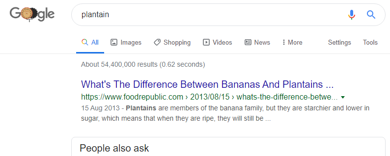 plantain search on Google