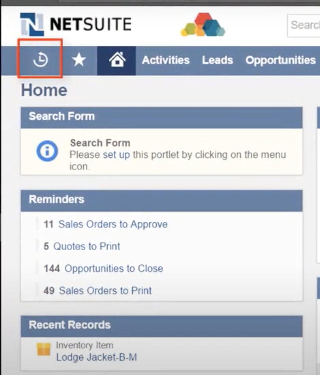 The recent records icon in NetSuite, located in the top left corner of each page, looks like a clock with an arrow around it.