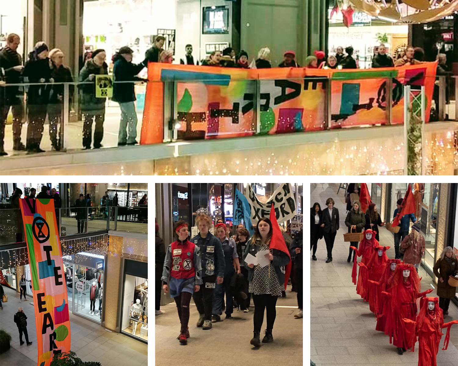 "Scenes from Oxford Westgate centre on Black Friday: The XRO ""Vote Earth"" banner drop, Rebels crisis carol singing, the Red Rebels Brigade."