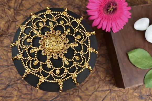 Hand crafted gold lakshmi bun pin or hair jewellery for women –  www.soosi.co.in