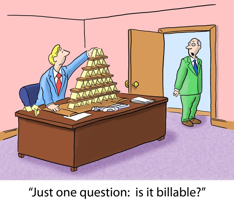 cartoon showing the employee building the house of cards and an employer is asking if the time of this work is billable