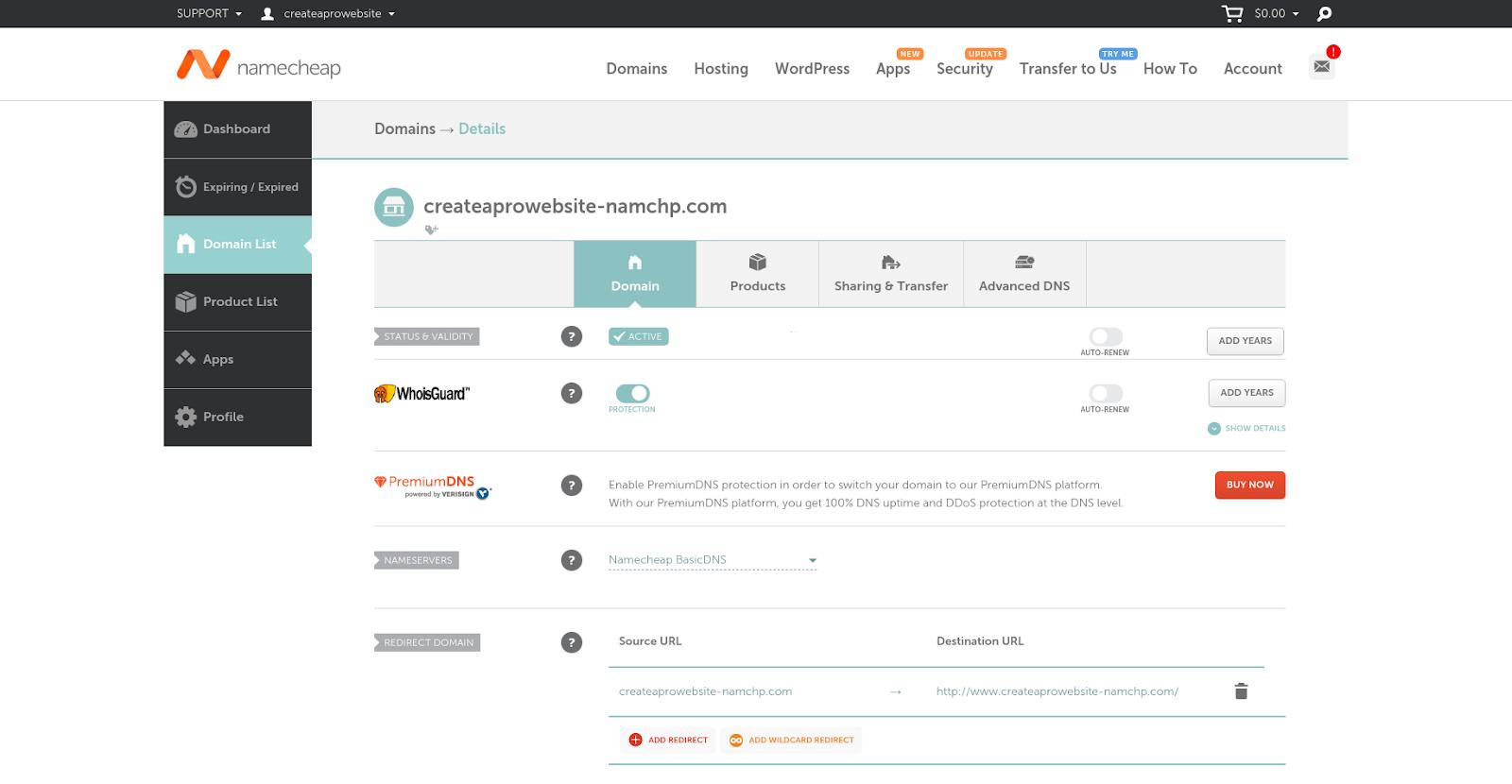 namecheap domain hosting portal