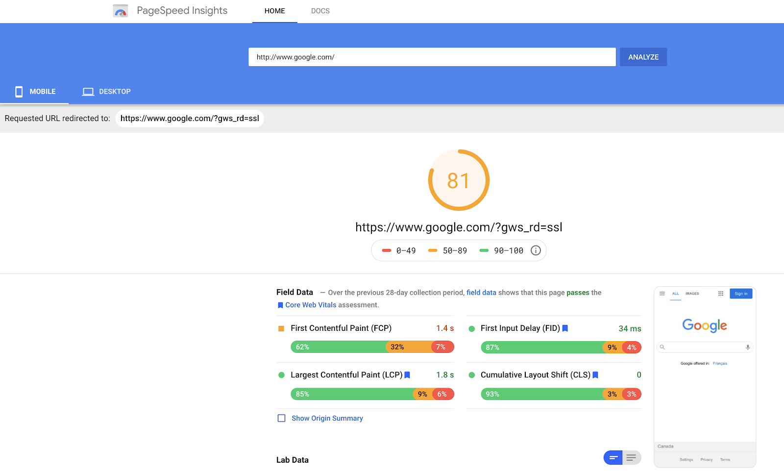 PageSpeed Insights results of google.com/