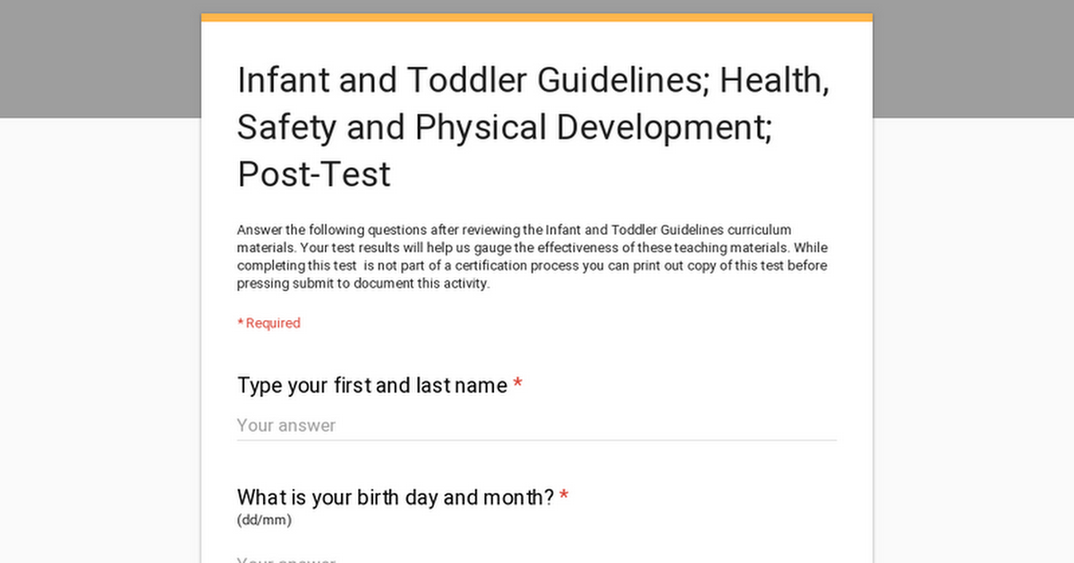 Infant and Toddler Guidelines