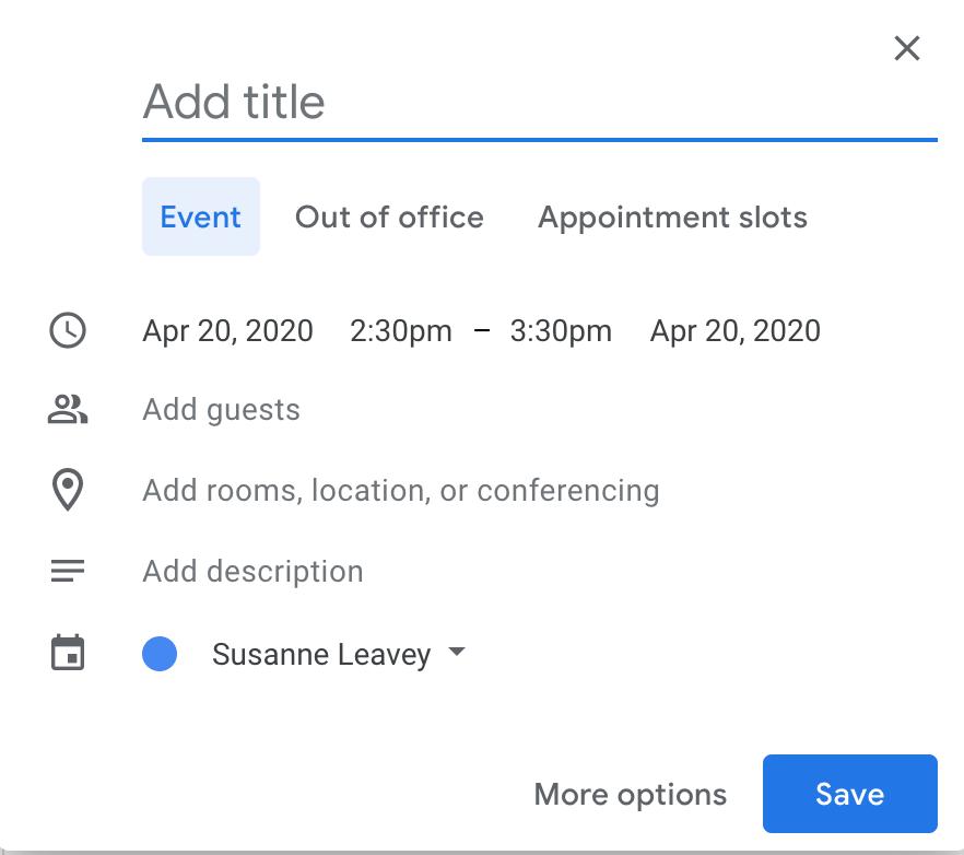 adding event on google calendar