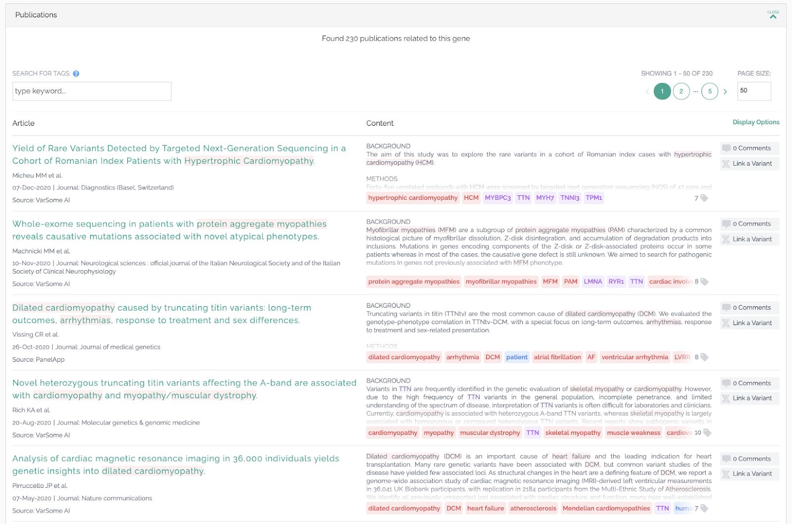 VarSome publication scanning AI