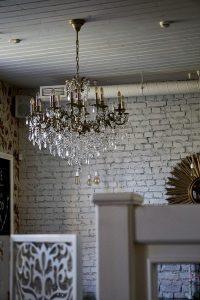 Crystal chandelier, turned off