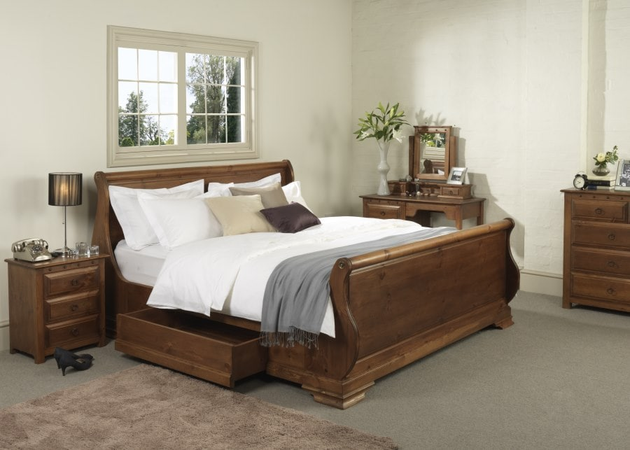 The French-inspired Carmargue Sleigh Bed