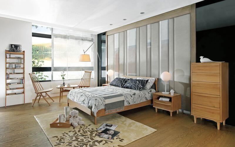 無論是使用實木地板或是超耐磨地板皆可成為北歐風臥室的地板元素