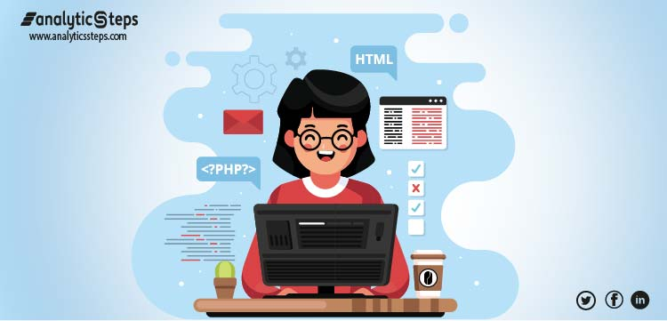 The image shows a girl learning coding online