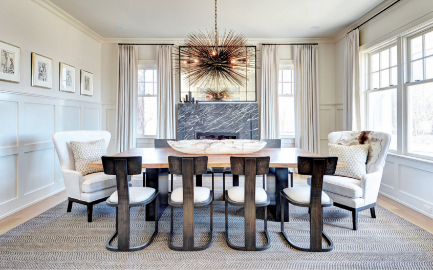 Statement lighting, Formal Dining Room, Traditional and Modern design, natural lighting