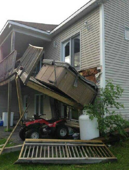 deck carrying a hot tub fell down