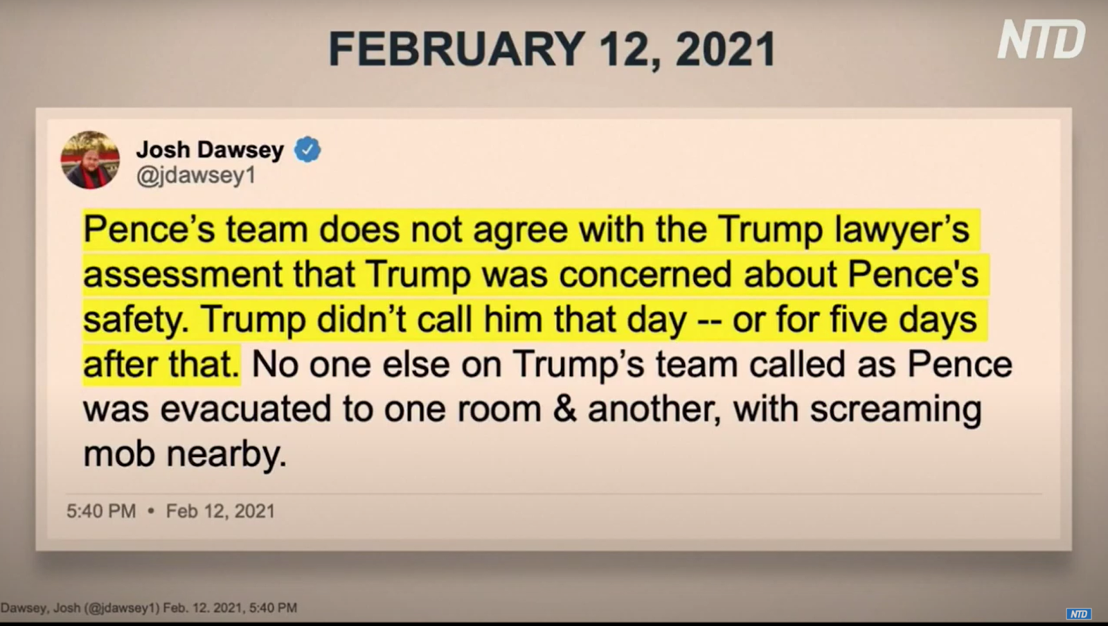 Screenshot of House Manager David Cicilline (D-RI)'s closing arguments. Cicilline attempted to cite a tweet composed of hearsay by Josh Dawsey, a Washington Post reporter, which claimed Mike Pence's team was in disagreement with a statement made by the Defense the prior day that Trump was concerned about the Vice President's safety during the riot. The Defense was not allowed to object.
