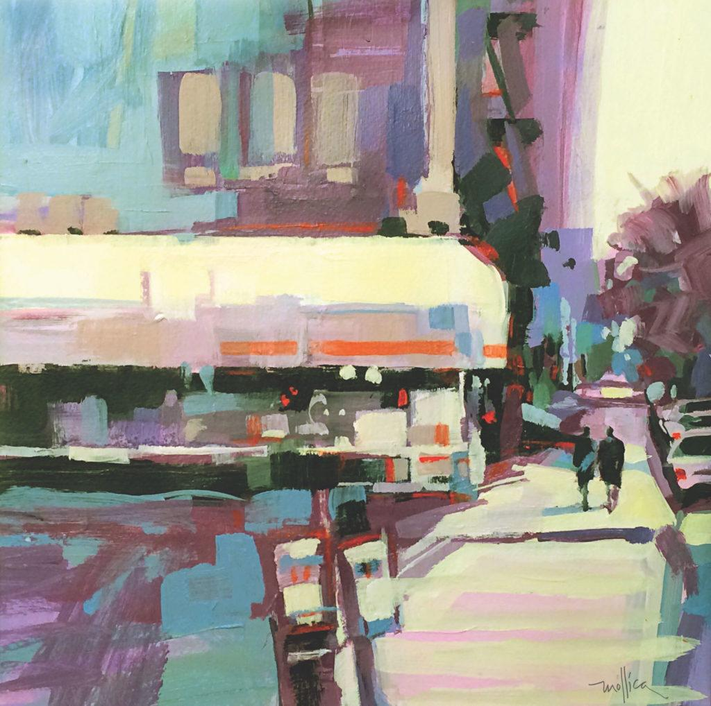Upper West Side của Patti Mollica, acrylic trên vải;  ví dụ về sơ đồ màu vuông |  Cách chọn phối màu