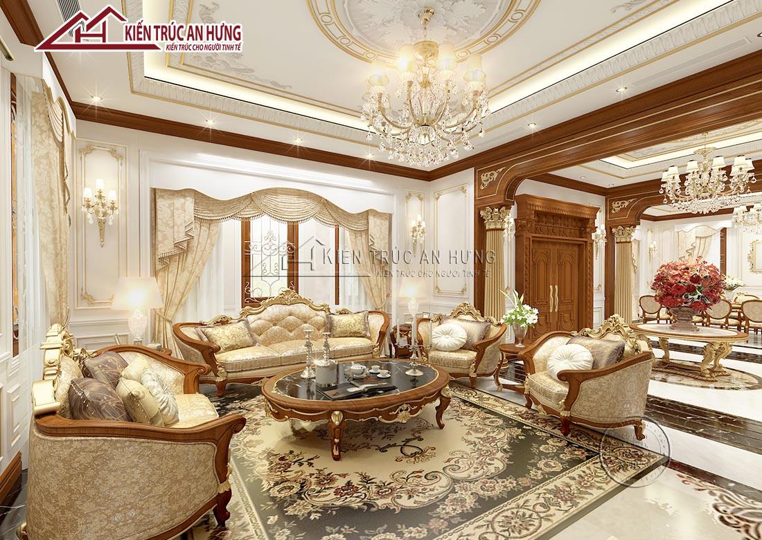Nội thất phòng khách sang trọng trong căn biệt thự lâu đài cổ điển