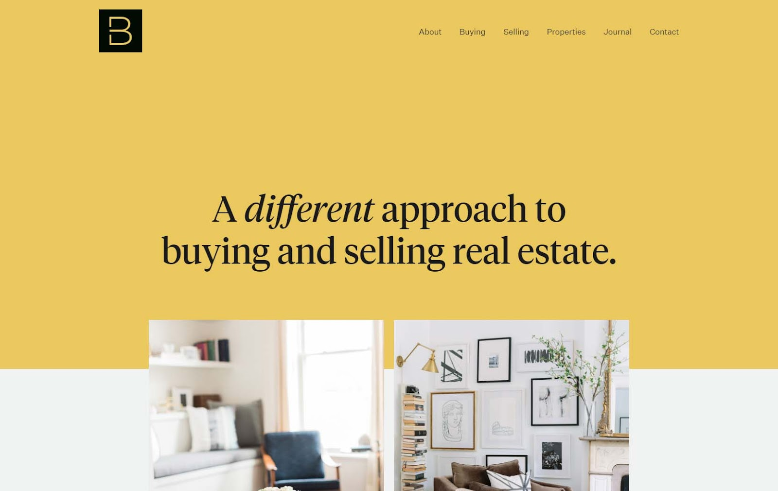 Minimal real estate website homepage with single-worded navigation bar, yellow background, and excellent web copy.