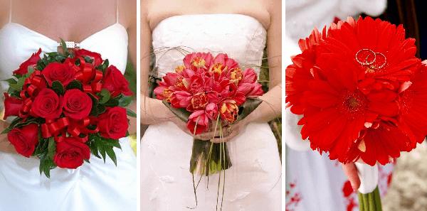 Свадебные букеты из красных цветов