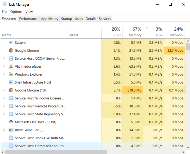 Task Manager window
