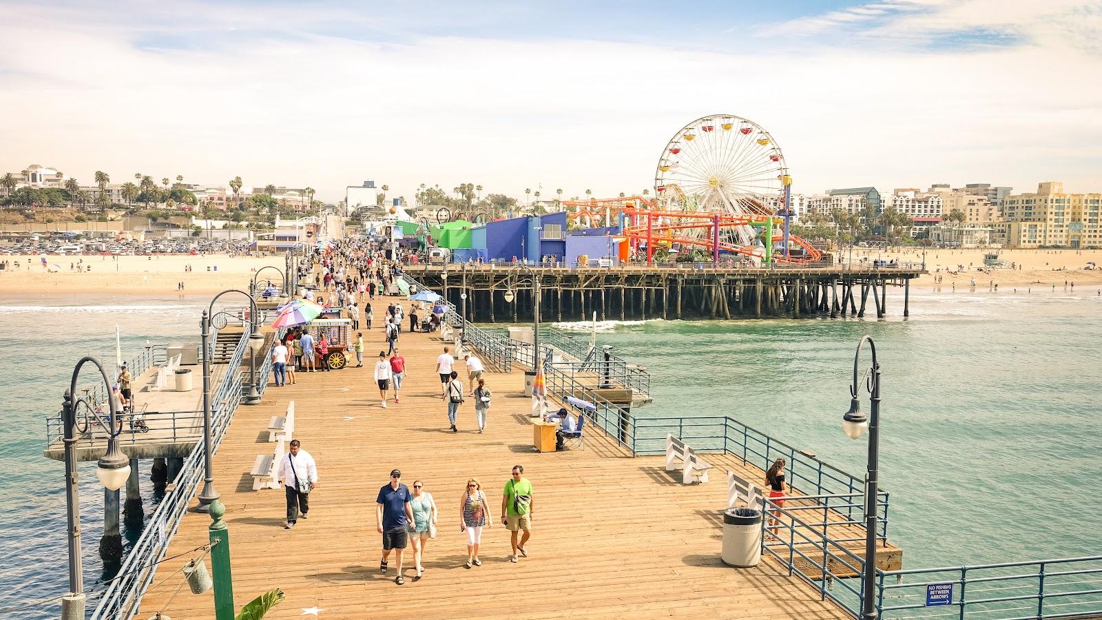 People walking on Santa Monica Pier