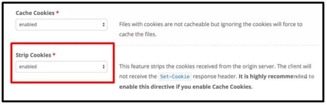opção de habilitar stripcookies no keycdn