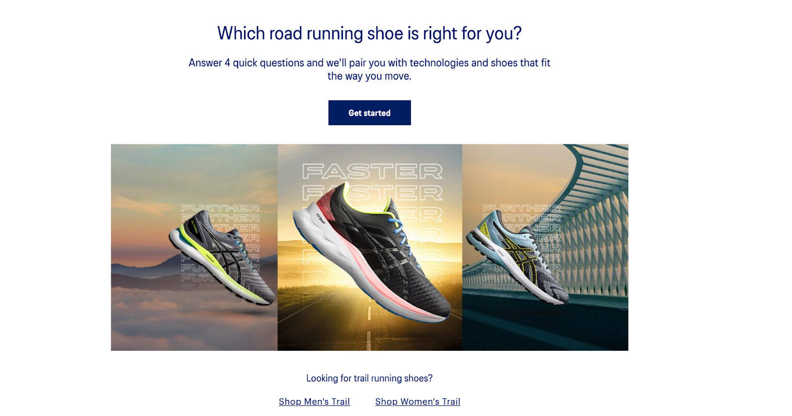 guided selling ASICS shoe finder