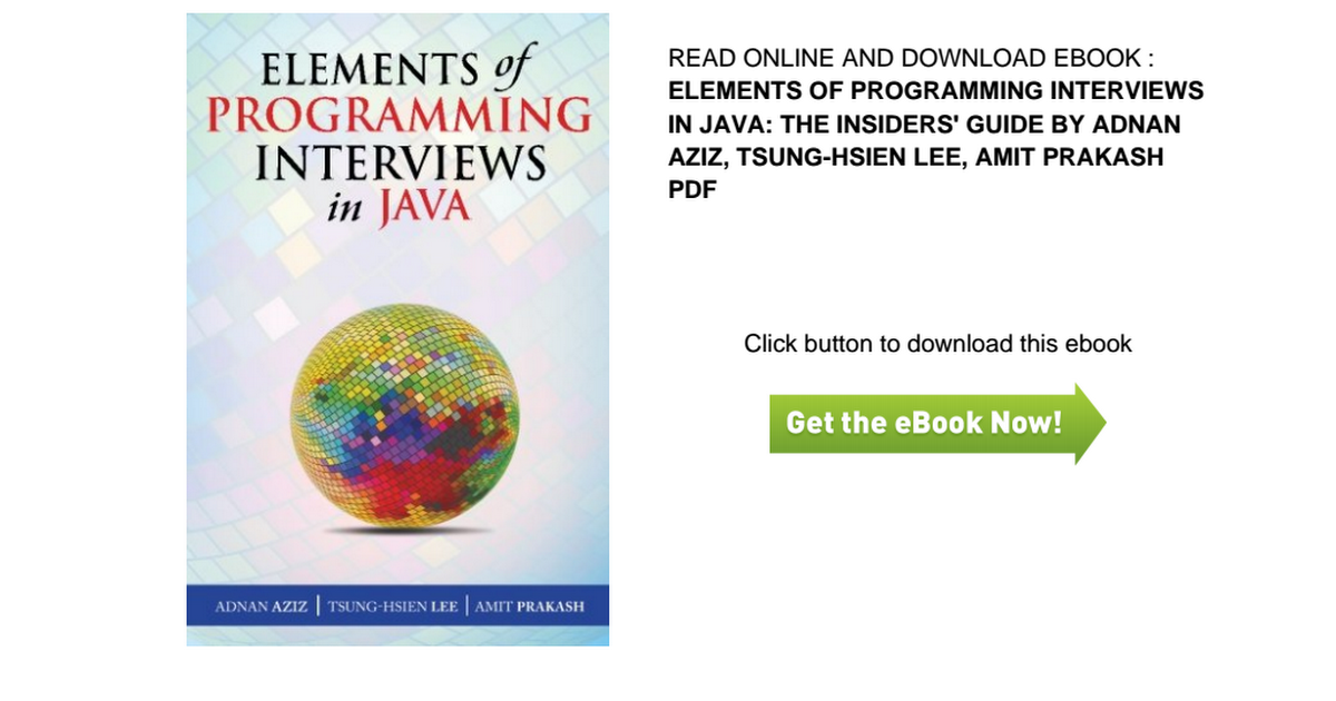 Pdf 0949elements Of Programming Interviews In Java The Insiders