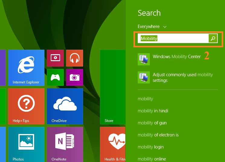 How to open Windows Mobility Center in Windows 10