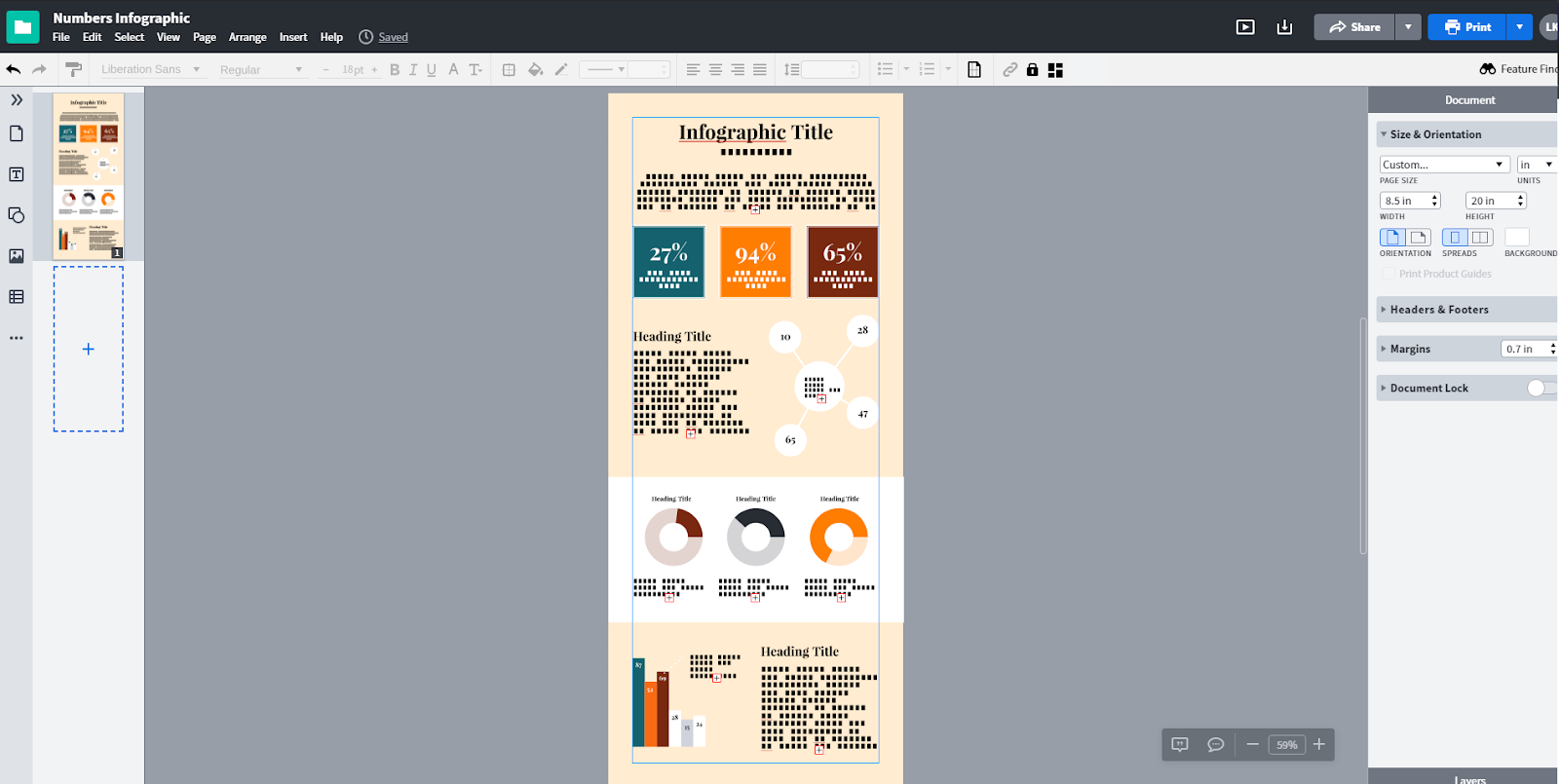 Lucidpress interface showing tan infographic in progress
