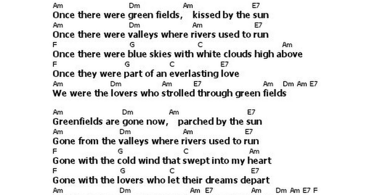 Lyric Chord Green Fields The Brothers Fourpdf Google Drive