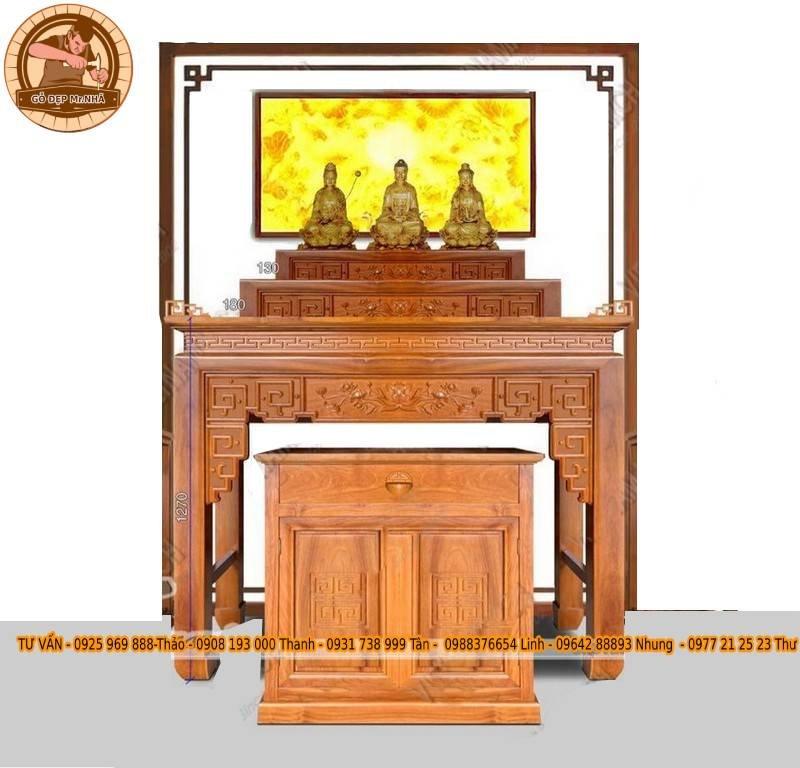 Bàn thờ Phật và gia tiên đẹp