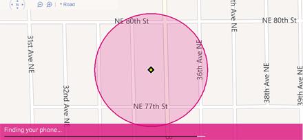Karta prikazuje lokaciju telefona Windows Phone
