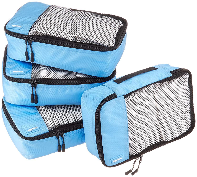 AmazonBasics 4 Piece Small Packing Travel Organizer Cubes Set