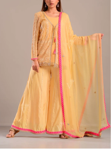 Yellow Lucknowi Chikankari Georgette Suit Set