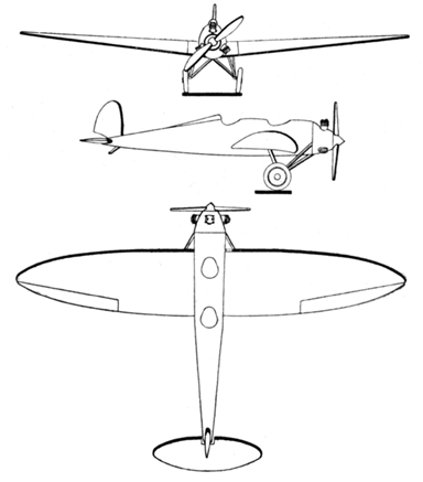 Bäumer Sausewind 3-View Les Ailes July 21,1927