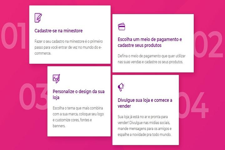 Plataformas para e-commerce Minestore captura de tela