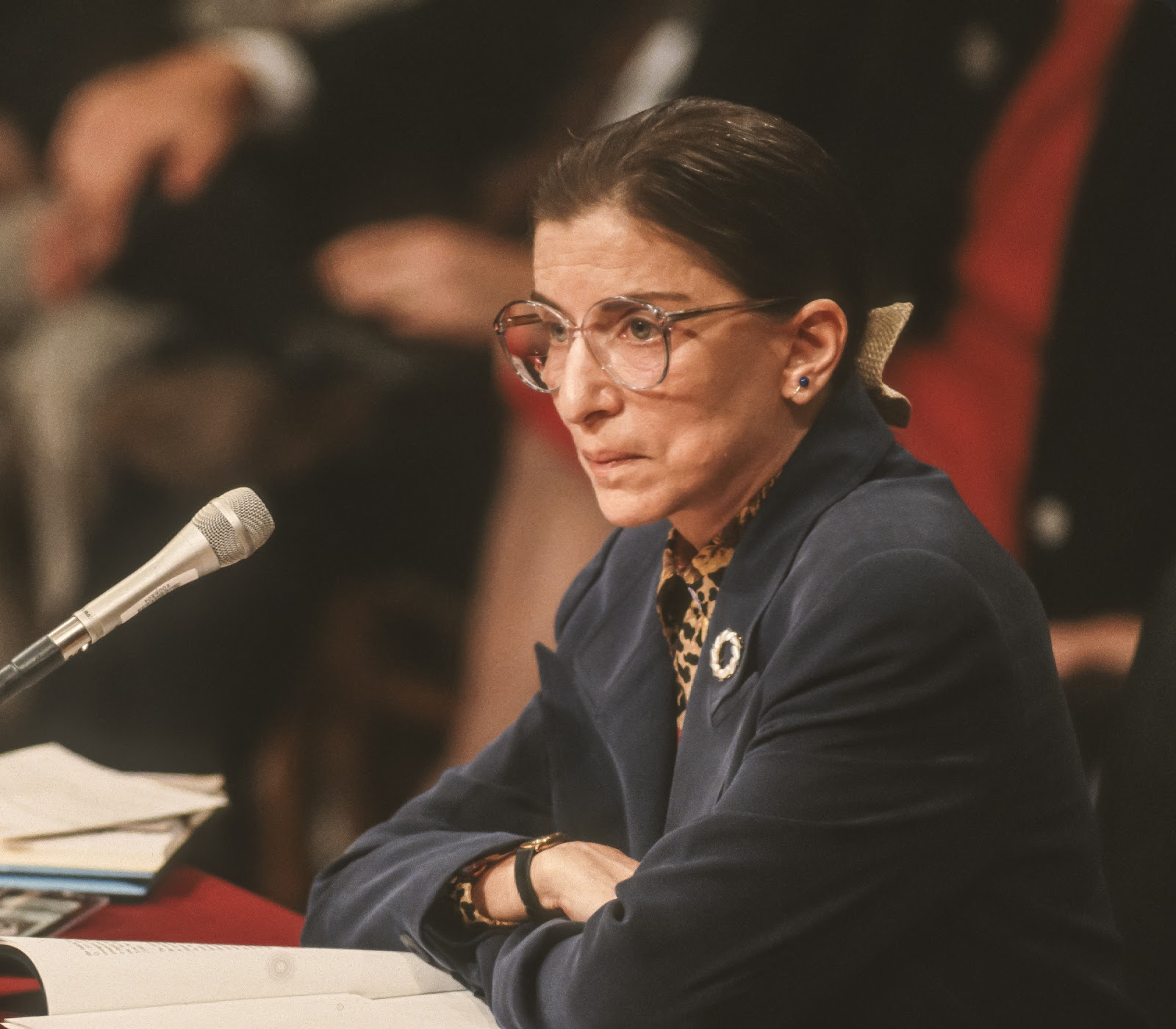 Ruth Bader Ginsburg in a courtroom during a case