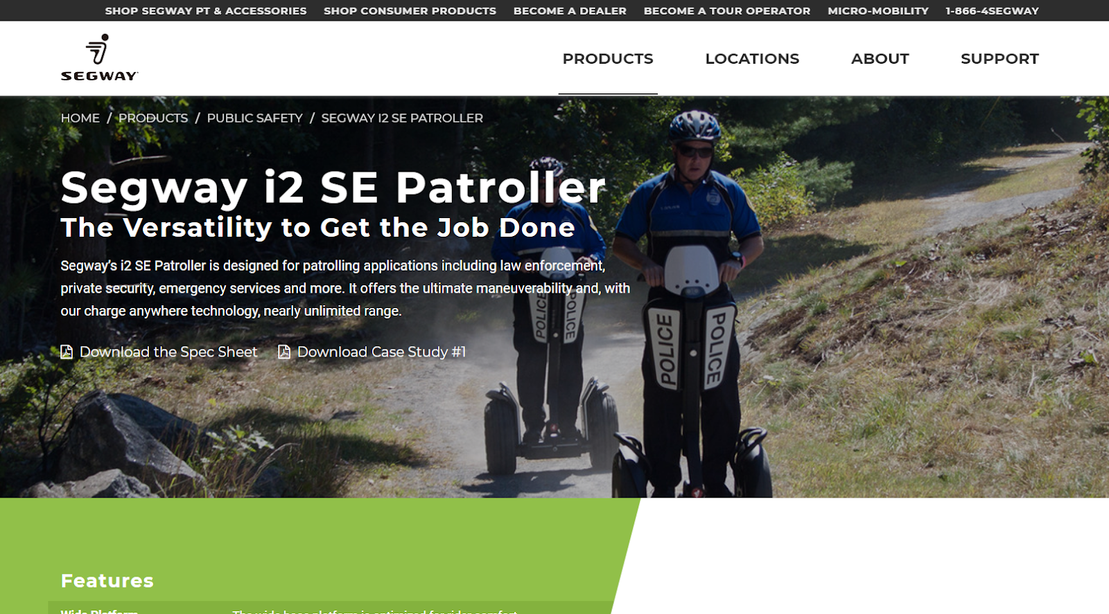 segway product page for law enforcement.