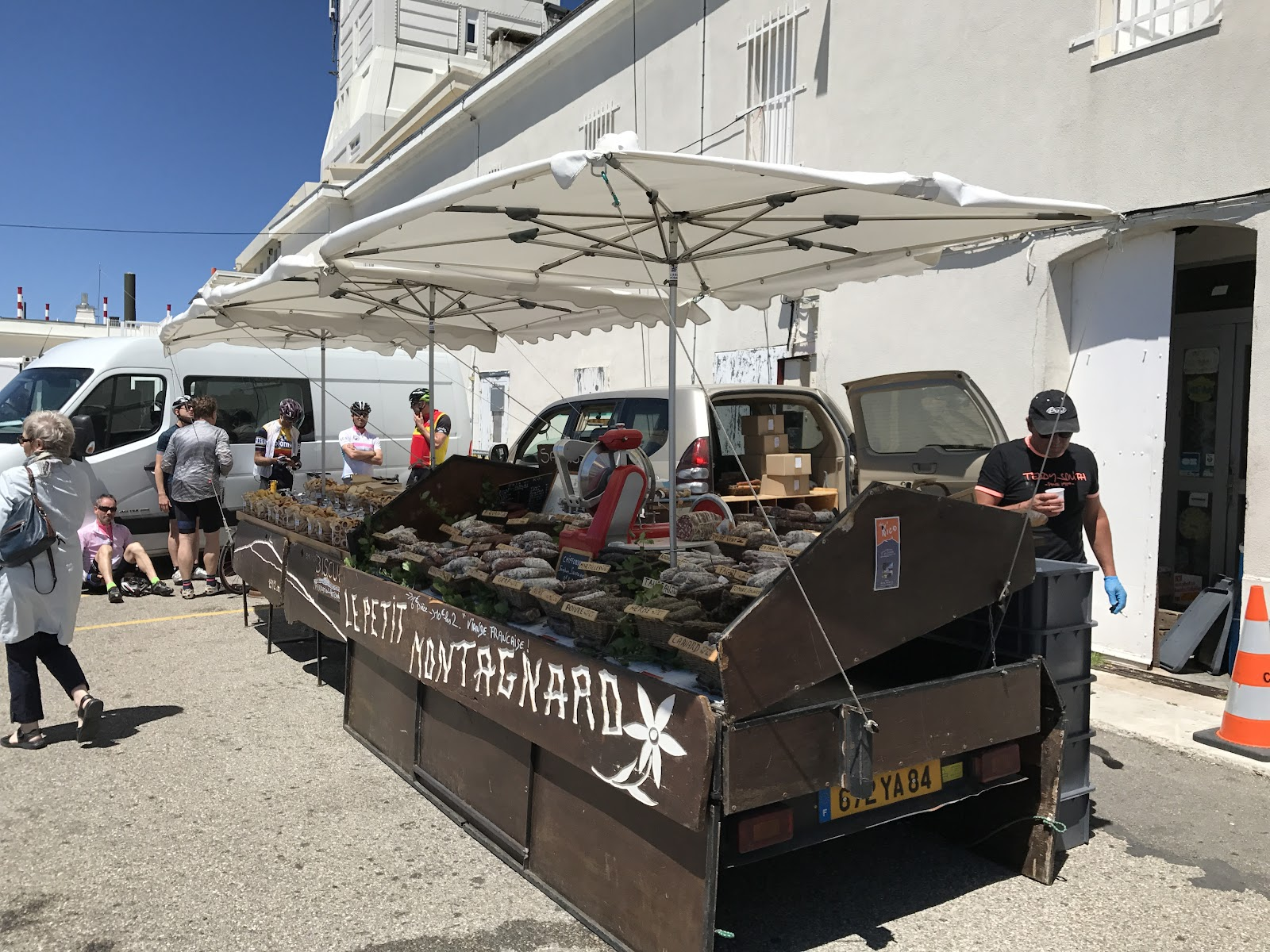 Climbing Mont Ventoux with bicycle - food cart at summit