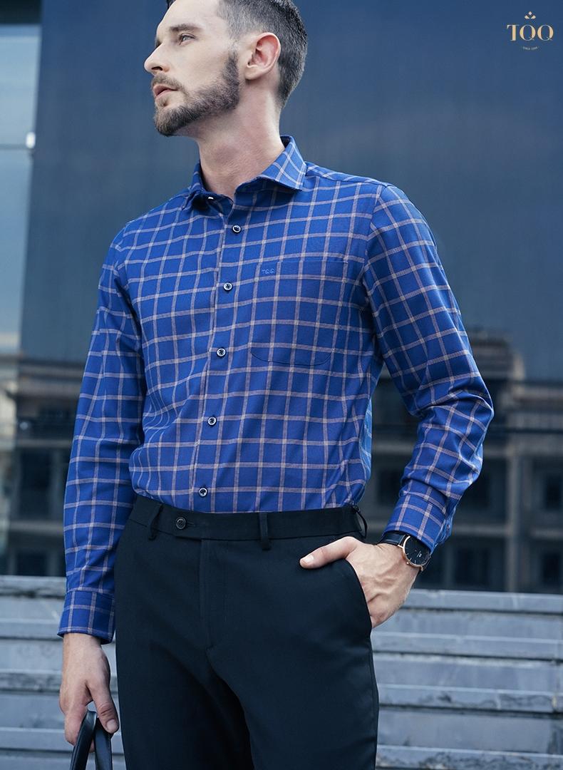 Mẫu áo sơ mi nam sang trọng xanh kẻ ô K261CS