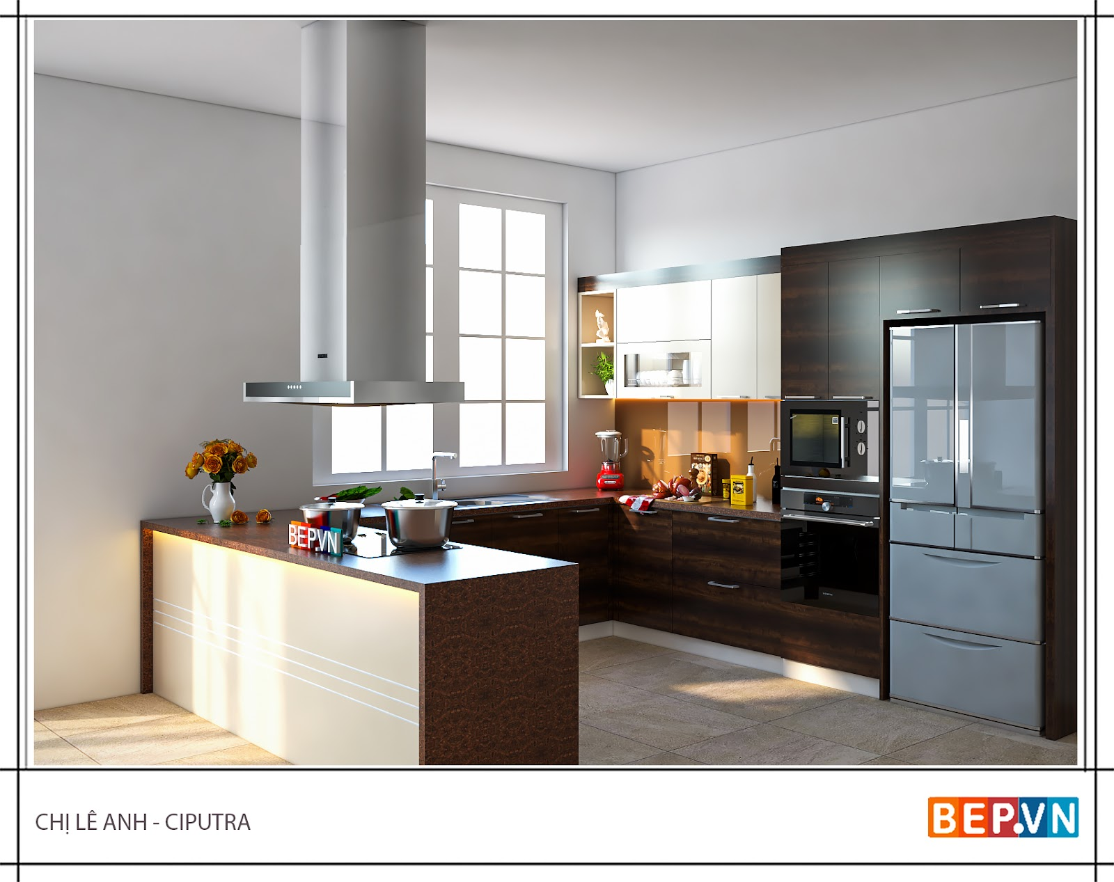 Thiết kế tủ kho kết hợp lò nướng và lò vi sóng trong căn bếp gia đình chị Lê Anh