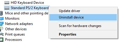 The Uninstall Device option for Standard PS/2 Keyboard