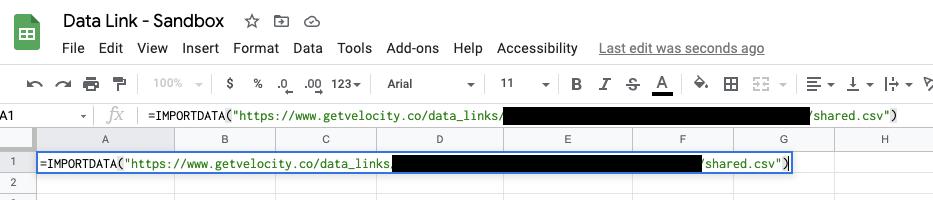 Data Links Google Sheets Import