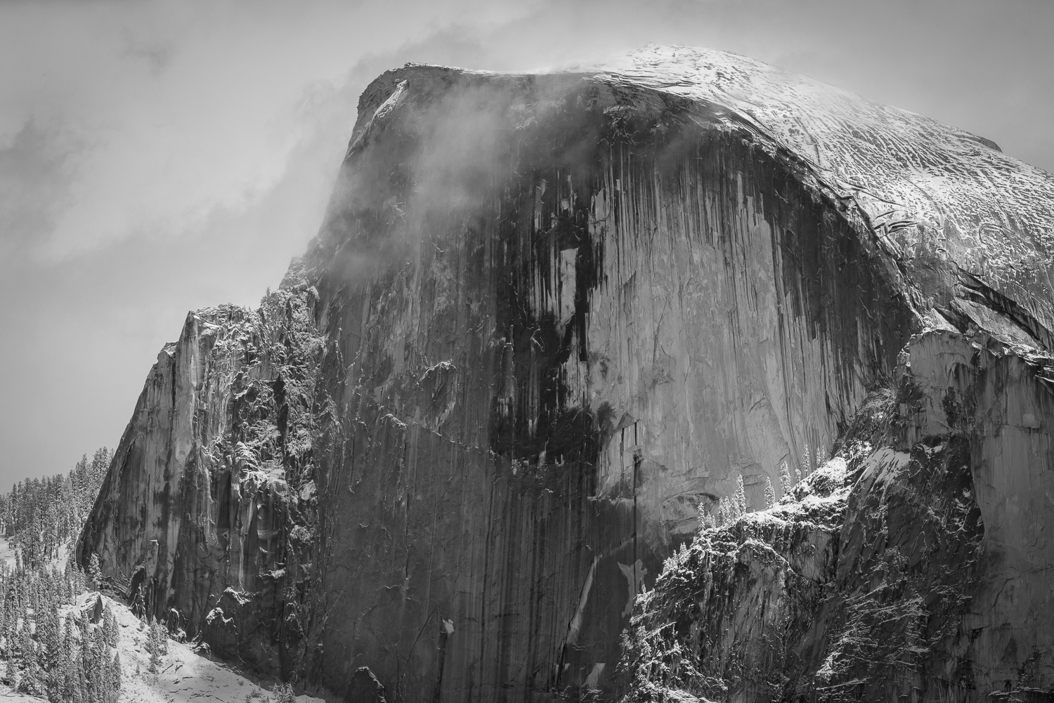 Half Dome after a light dusting of snow