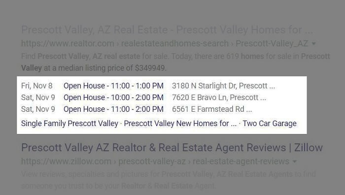Real Estate Website displaying Open Houses in search results-Events Rich Snippet