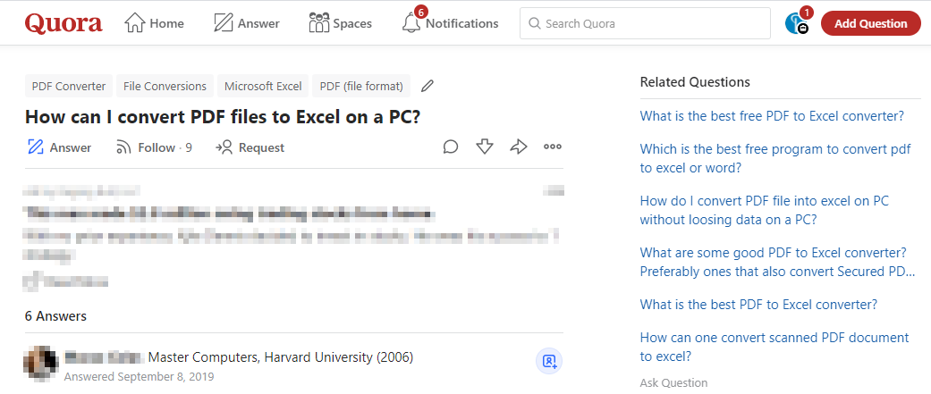 "Quora - ""How can I convert PDF files to Excel on a PC"" question"